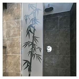 sticker paroi de douche depoli bambou With porte de douche coulissante avec stickers occultant fenetre salle de bain
