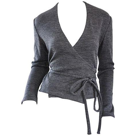 wrap sweater cardigan geoffrey beene vintage grey size 6 light wool