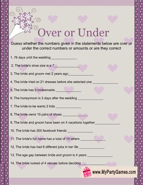 To Play At A Bridal Shower - or bridal shower printable in purple and