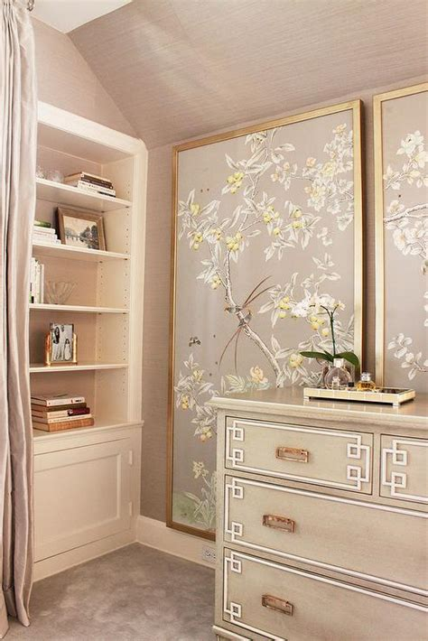 gray chinoiserie bedroom  greek key chest asian