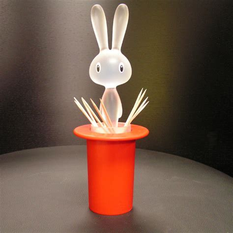 "Alessi   ""Magic Bunny"" Ltd Ed Red Toothpick Holder   Panik"
