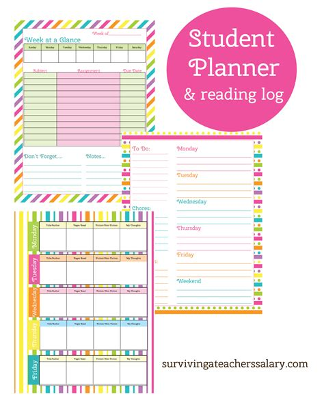 planners for college students printable student planner and reading log