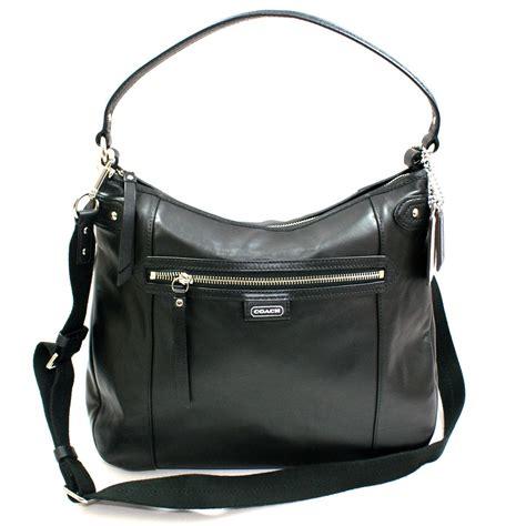 coach daisy leather convertible hobo shoulder bag black  coach