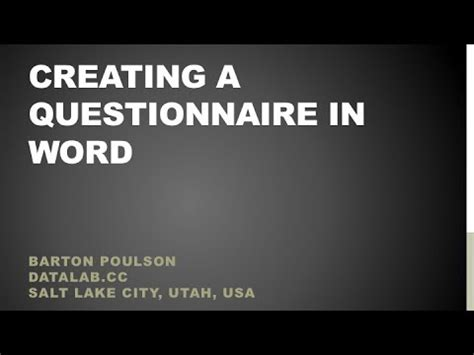creating  questionnaire  word youtube