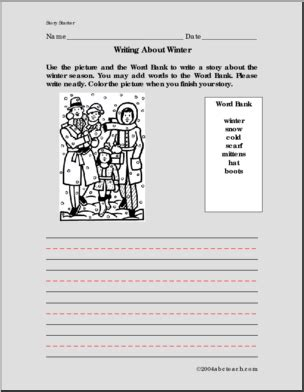 winter primary elem color and write prompt i abcteach