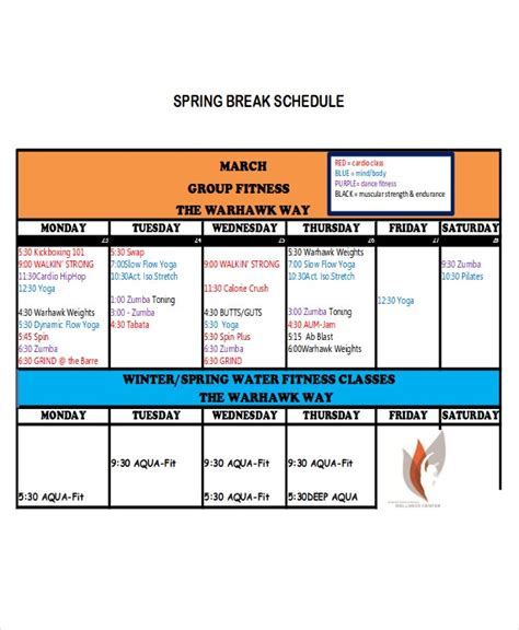 break schedule templates  sample  format
