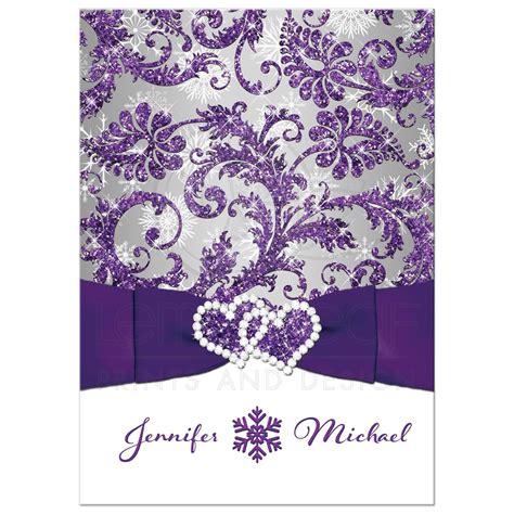 winter wonderland wedding invitation purple silver