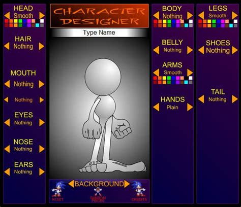 sonic  hedgehog character designer game funnygamesin