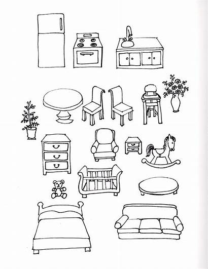 Doll Paper Furniture Drawings Doodle Coloring Sketch