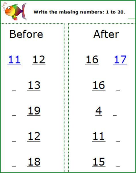 missing number worksheet   missing number