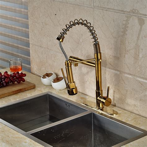 kitchen sink tap cover cornet gold finish kitchen sink faucet with dual spouts 8550