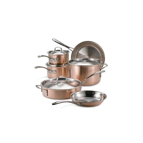 calphalon tri ply copper stainless steel  piece cookware set bed bath   canada