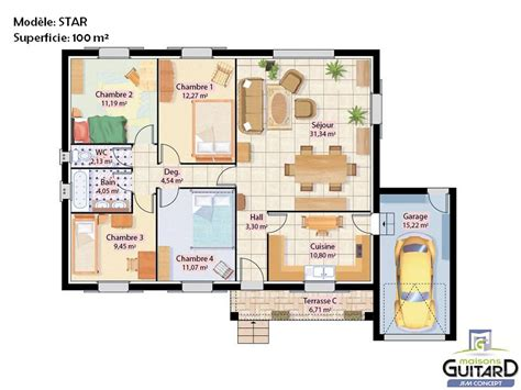 plan de maison de plain pied avec 4 chambres beautiful maison de plain pied avec toiture deux pentes et