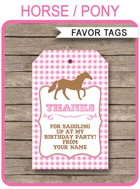 pony party favor tags   tags horse birthday party
