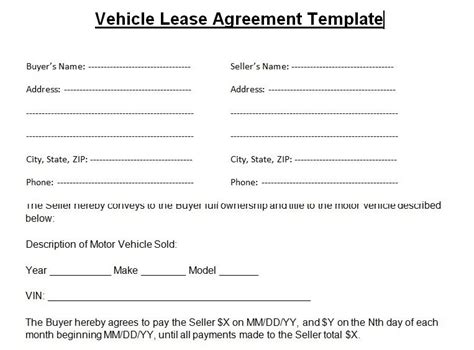 Blank Vehicle Lease Agreement Template Word