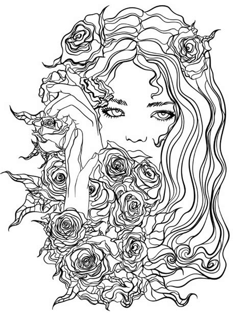 Pretty Girl with Flowers coloring page | Recolor App