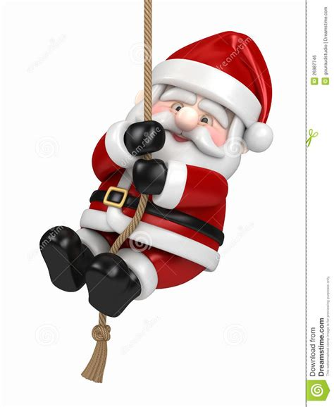 santa claus hanging on a rope royalty free stock image