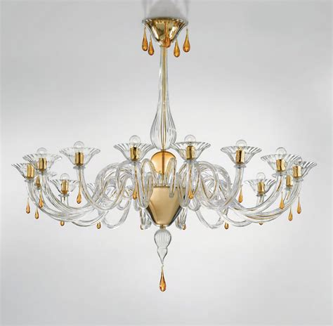 modern murano chandelier lighting clear glass and gold