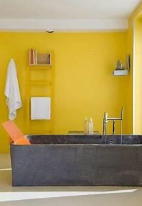 Couleur Mur Salle De Bain : salle de bains jaunes 32 id es pour une d coration lumineuse ~ Dode.kayakingforconservation.com Idées de Décoration