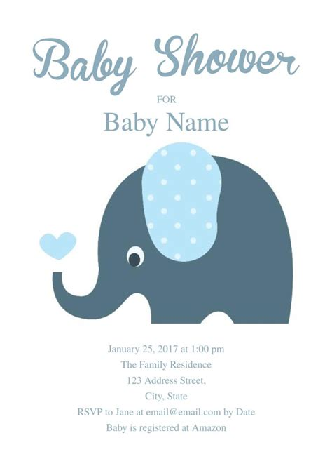 cute elephant baby shower invitation template  baby