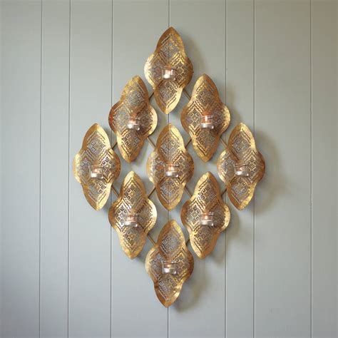gold wave wall tealight holder by dibor