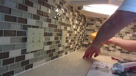 install glass mosaic tile backsplash part