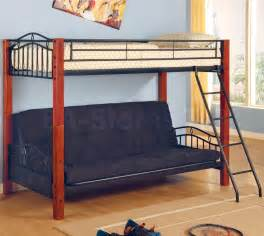 455 37 metal and wood twin over futon bunk bed bunk