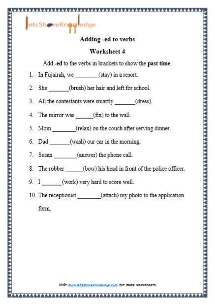 grade  grammar adding ed  verbs printable worksheets