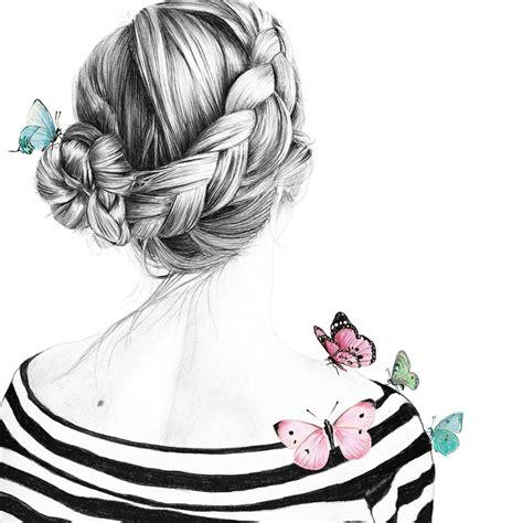 rosali  zeichnung maedchen haare frisur dutchbraid