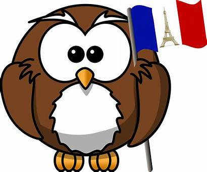 French Flag Owl Cartoon Clipart Adjectif Possessif