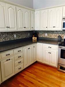 kitchen transformation in antique white milk paint With kitchen colors with white cabinets with vintage luggage stickers