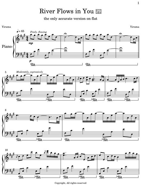 Free sheet music with guitar chords download. River Flows in You 🎹 - Sheet music for Piano