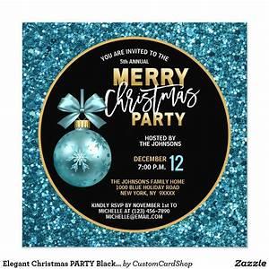Elegant Christmas Party Black Gold Blue Glitter Invitation