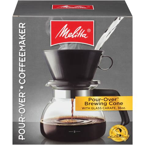 We continually work to enhance our webstore experience, however we are not responsible for the accessibility of functionality provided by 3rd party vendors. Melitta® Pour-Over Brewer 6 Cup Cone Coffee Maker with Glass Carafe Box - Walmart.com - Walmart.com