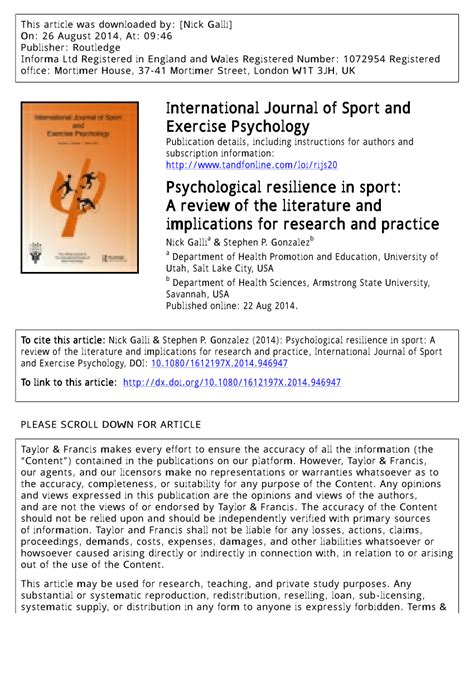 psychological resilience  sport  review