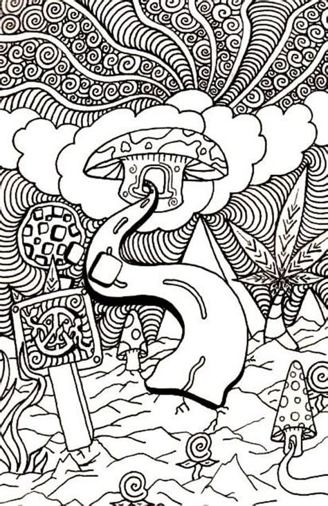 trippy colouring pages mushroom enjoy coloring resident assistent pinterest dovers book