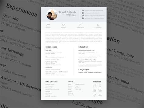 Ui Ux Designer Resume Template by Single Page Resume Sketch Freebie Free Resource