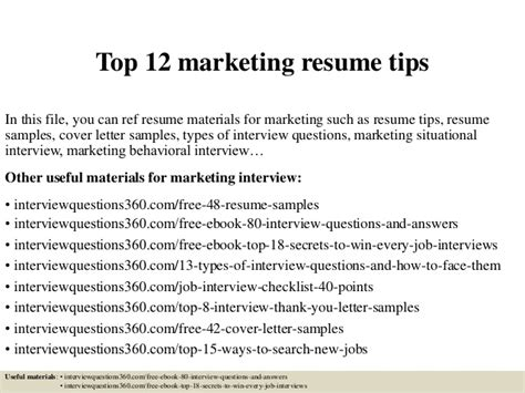 Marketing Resume Tips by Top 12 Marketing Resume Tips