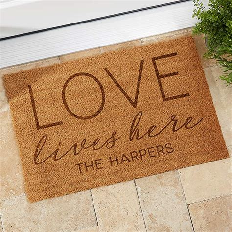 Personalized Coir Doormat by Custom Personalized Coir Doormat Lives Here