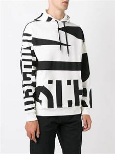 Moschino Logo Print Hoodie In White For Men