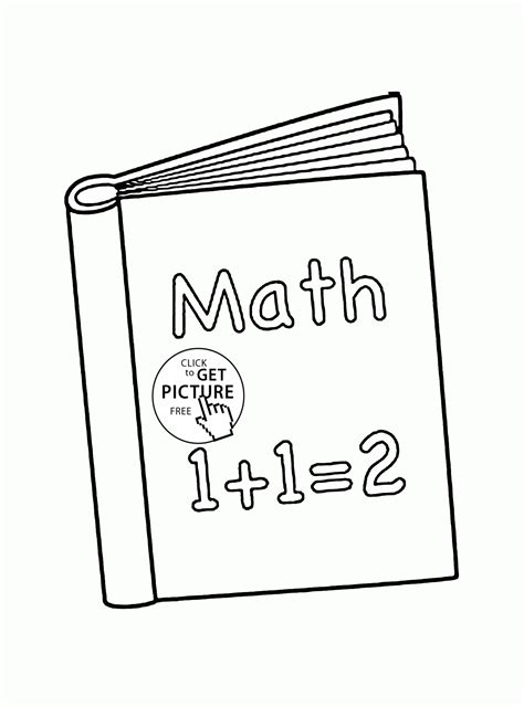 School Book Math coloring page for kids, back to school