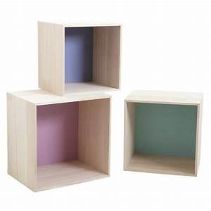 Étagères Murales Bois : s rie de 3 tag res cube en bois color es achat vente ~ Melissatoandfro.com Idées de Décoration