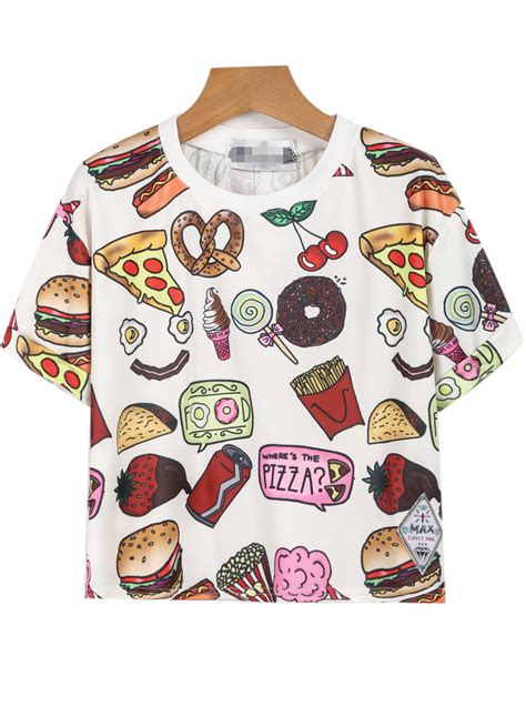 tshirt kaos fast food white sleeve fast food print t shirt sheinside