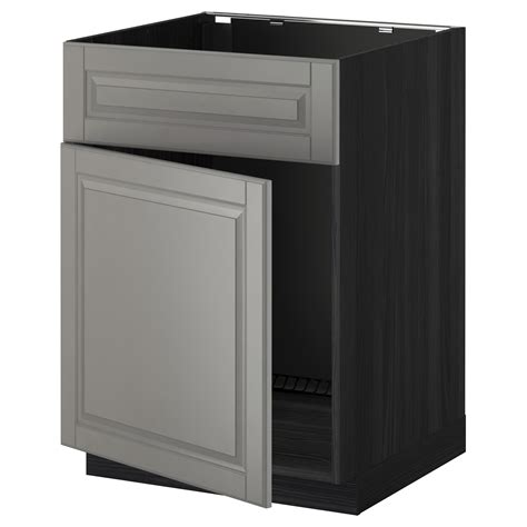 metod base cabinet f sink w door front black bodbyn grey
