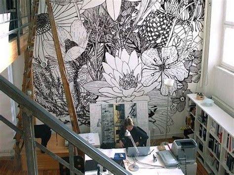 bureau peint inspiration déco du papier peint pour un bureau créatif