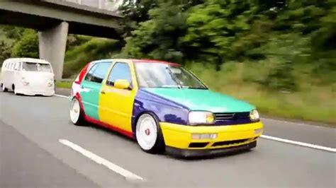 volkswagen harlequin vw mk3 golf harlequin rolling to detailed summer bash