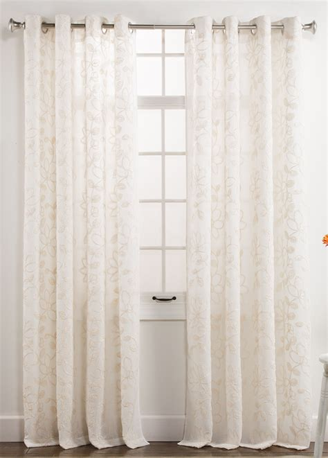 darcy semi sheer embroidered grommet panel ivory
