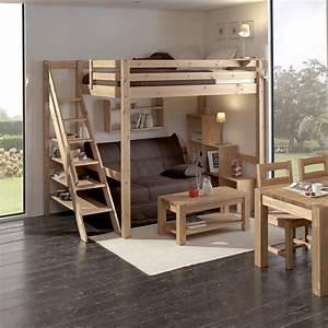 Lit 1 Place Mezzanine : gain de place gr ce la mezzanine loft en bois massif ~ Melissatoandfro.com Idées de Décoration