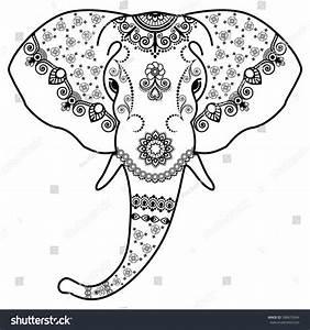 Elephant'S Head In Mehndi Indian Style.Vector Illustration ...