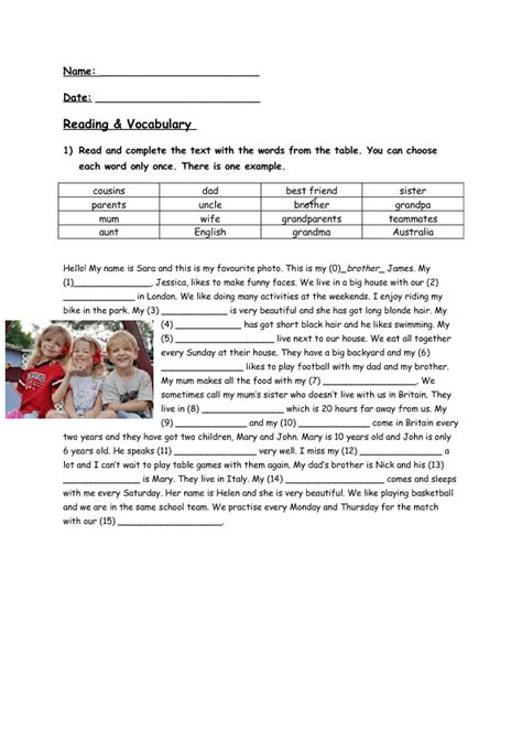 reading comprehension vocabulary exercise family members